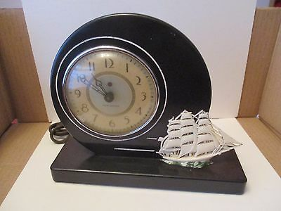 Art Deco Bakelite New Haven Mantle Clock - Sailing Ship