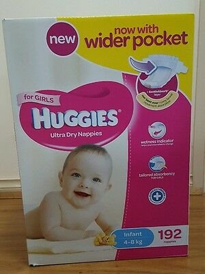 Huggies® Infant Nappies For Girls 4-8Kg 192 Ultra Dry Nappies