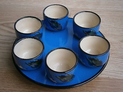 Devon Torquay Pottery six egg cups and stand. Kingfisher pattern. 1930s vintage.