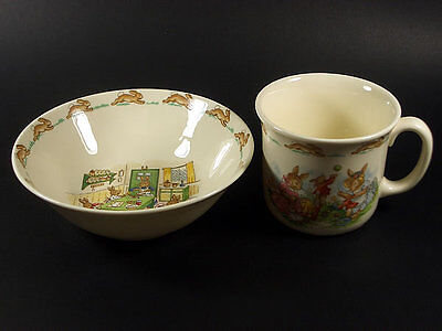 Royal Doulton Bunnykins Child's 2 Piece Set / Cereal Bowl & Mug  Made In England