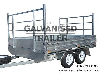 10x7 Flat Top Tandem Trailer Heavy Duty Galvanised With Removable Drop Down Side