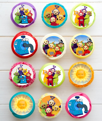 Teletubbies circle EDIBLE wafer cupcake cake toppers