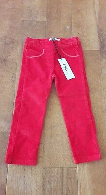New Dkny Girls Red Cord Trousers Age 3 Were £42