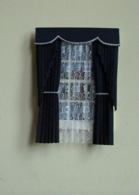 Dolls House Curtains Navy Blue Swag Effect