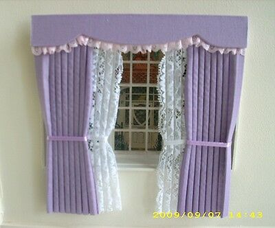 Dolls House Curtains Lilac Outside Bay With Tied Nets