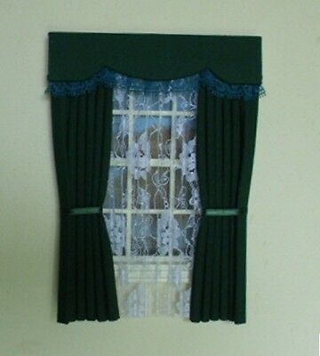 Dolls House Curtains Green With Lace