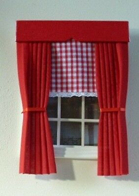 Dolls House Curtains Red With Gingham Blind