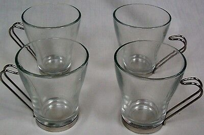 Bormioli Rocco Clear Glass Cups Reverse Hook Chrome Handle Italy Lot of 4