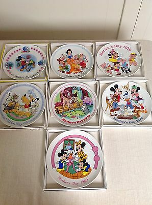 Schmid Bros Walt Disney Mother's Day Plate Lot of 7 from 1974 - 1980