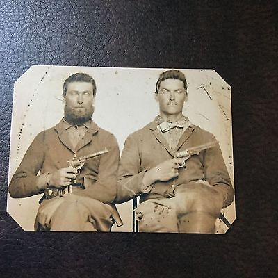 2 Civil War US Soldiers With Pistols TinType C752NP