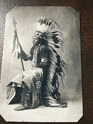Native American Chief With Fantastic War Bonnet TinType C327NP