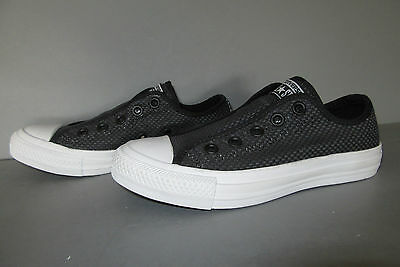 Converse All Star Ox Woven Slip On - Women's Size 5 BLACK/GRAY/WHITE