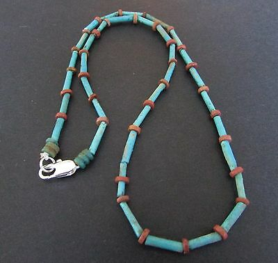 NILE  Ancient Egyptian Amulet Faience Mummy Bead Necklace ca 1200 BC