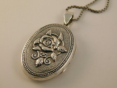 """Sterling Rose Locket Pendant Picture Necklace Flower Silver 925 18"""" Chain"""