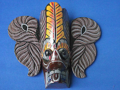 Unusual Small Painted Wooden Wood Wall Mask Thai Oriental Indian ? RS Currency