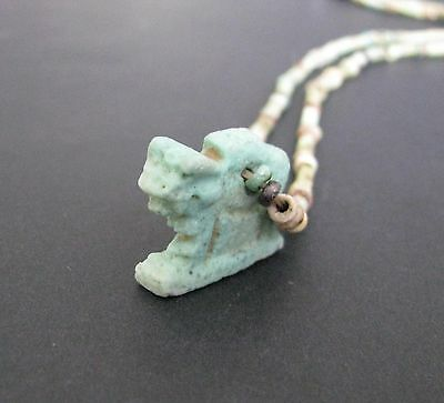 NILE  Ancient Egyptian Apis Amulet Faience Mummy Bead Necklace ca 1000 BC