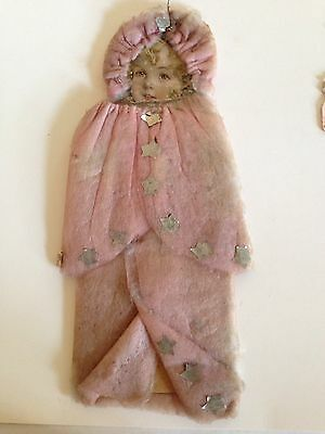 Antique Pink Cotton And Scrap Christmas  Paper Doll