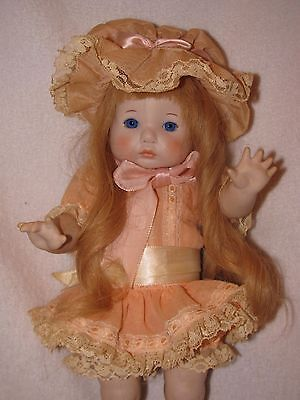 """Precious 12"""" Artist Made All Bisque Reproduction Doll Dressed In Pretty Peach"""