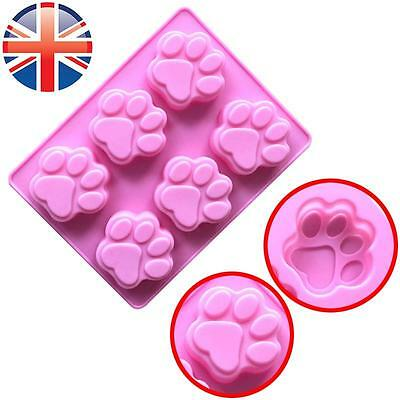 *UK Seller* Silicone 6 Cat Dog Animal Paws Chocolate Mould Ice Tray Candy