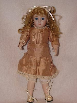 "10"" Beautiful Artist Made Bisque Reproduction Doll Dressed Nice"