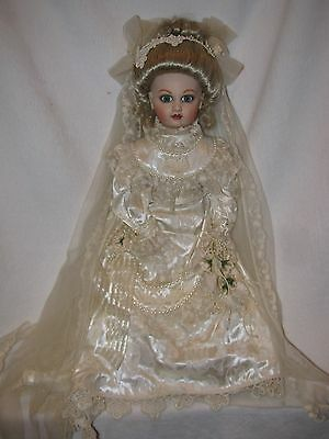 """Gorgeous 21"""" Bisque Reproduction Bru Doll Beautifully Dressed Victorian Bride"""