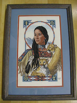 Finished Cross Stitch Spirit of Cougar Native American Indian Woman Completed