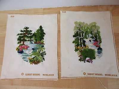 2 Matching Finished Jiffy Crewel Waterfall Evergreens & Birches Completed 9x11