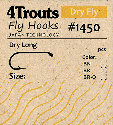 Fly Hooks for tying Dry Flies 1xLong 100 pcs/pack #1450 FREE SHIPPING WW POSTAGE