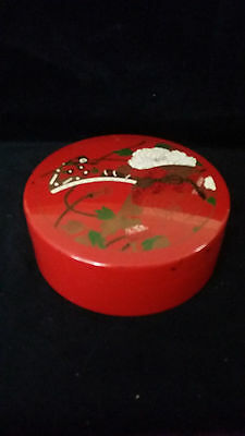 Vintage Asian Japanese Red Lacquer Coaster Set in Lidded Trinket Box