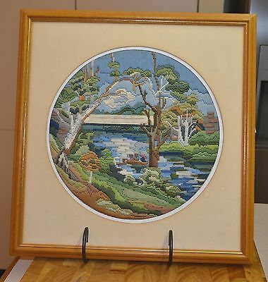 Framed Completed Detailed Longstitch Landscape Tapestry Canvas 40 x 41cm