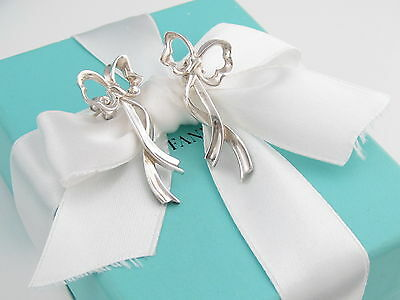 Tiffany & Co Silver Small Ribbon Bow Dangling Dangle Earrings Box Included