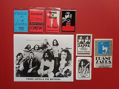 FRANK ZAPPA,promo photo,7 Original backstage passes,Various Tours
