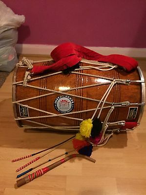 Dhol With 1 Dhagga, 3 Tillis And A Carrying Case