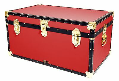 """RED Traditional British Mossman Made 33"""" Storage Otterman Trunk - Toy Box Chest"""