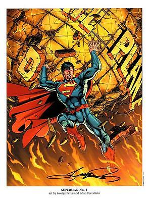DC Comics New 52  SUPERMAN #1 Ltd Edition Print - Signed by GEORGE PEREZ