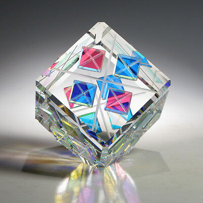 """NEW Optic Crystal Glass Paperweight """"FOURSOME"""" by Ray Lapsys"""
