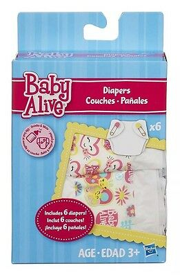 Baby Alive Doll Diapers Refill 6 Pack Disposable Baby Diapers  NIB