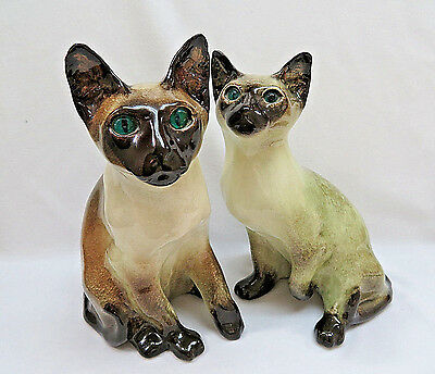 Vintage Large Winstanley English Porcelain Siamese Cat Figurines, Signed