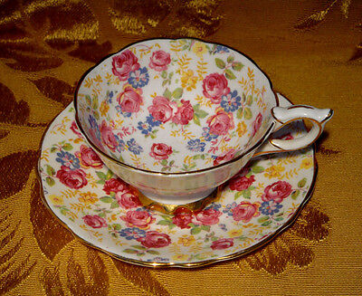 Royal Stafford *june Roses*  Floral Chintz Tea Cup & Saucer Gold Trim