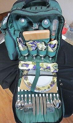 Picnic Backpack Set Service For 4 New Camping Outdoor Living Hiking