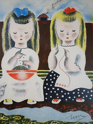"""Sisters """"Judy & Jessica"""" Signed Lithograph by Childrens Book Illustrator MURA"""