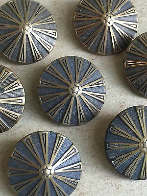 Set Of 7 Antique French Art Deco Brass Buttons Solidite Paris, Cone Shaped