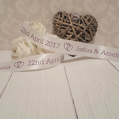 25mm Personalised Printed Ribbon - Wedding - Gift Wrapping - New Baby - Birthday