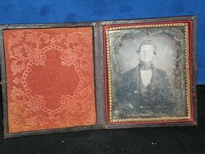 1850s Daguerreotype photograph Young Man Trimmed Beard Suit MARKED 40E 1/6 plate