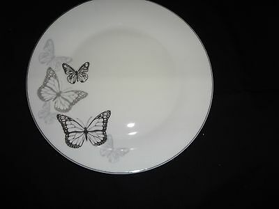 Set of 4 Shades of  Black  Butterfly Design Dinner Plates