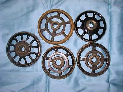 5 Antique SEWING MACHINE CAST IRON Fly Wheels INDUSTRIAL AGE Steampunk Lamp Base