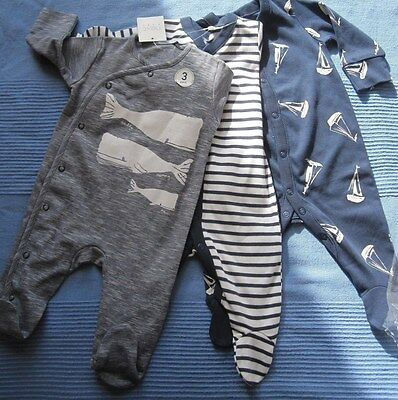NEXT Baby Boys Sleepsuits 0-3 months BNWT whale, sailing boats