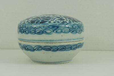 Antique Chinese Blue And White Porcelain Seal Paste Box