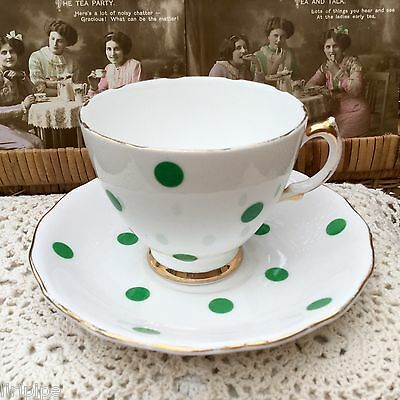 ROYAL VALE BONE CHINA 1950s DUO CUP & SAUCER GREEN POLKA DOTS - SHABBY CHIC