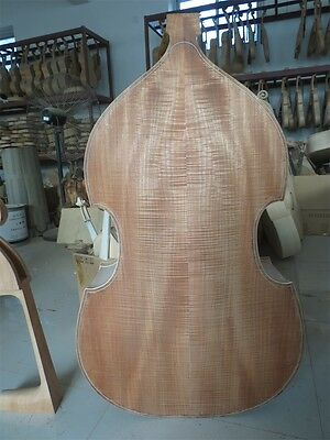 Hand carved white/unfinished 3/4 upright bass,spurce top/Plywood back